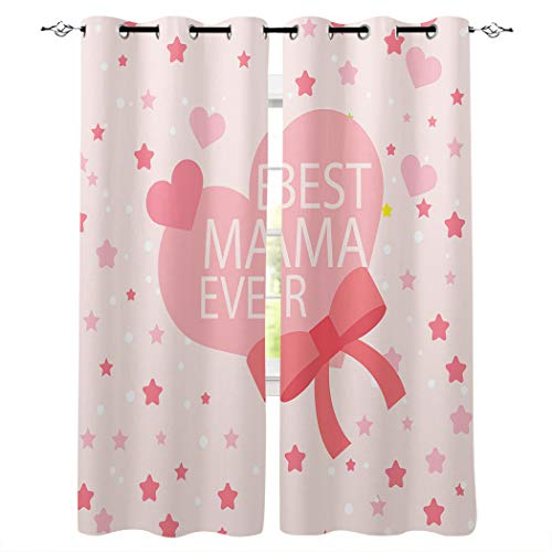 Window Treatments Room Darkening Thermal Insulated Grommet Curtain Drapes for Living Room Kitchen Bedroom, Best Mom Ever Pink Heart Bow and Stars 52x52 Inch, 2 Panel