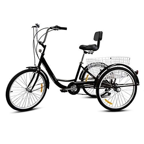 HENGGE 24 Zoll Für Erwachsene Fahrrad Dreirad, Pedal Dreirad Fracht Dreirad, Geeignet Für Outdoor-Sport-Shopping, Verstellbares Dreirades,Schwarz