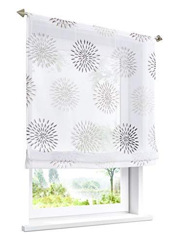 LiYa 1 Stück Raffrollo mit Kreis-Motiven Floral Design Raffgardine Voile Transparent Vorhang (BxH 100x140cm, Braun mit Tunnelzug)