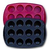 Backhaus Stampo per 12 Mini Muffins - Teglie da Forno, Set di Pasticceria Antiaderente in Silicone Platino di qualità Professionale (Rosso & Nero, 2)