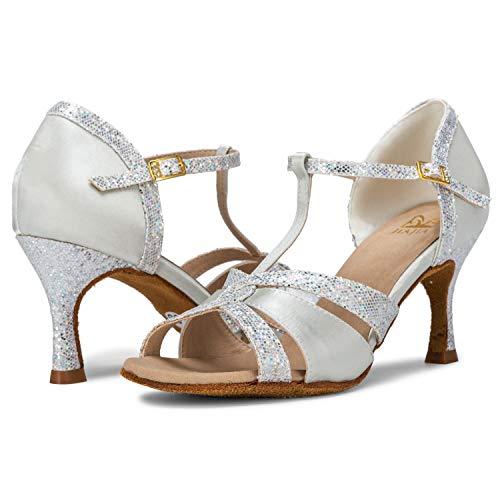 JIA JIA 20519 Damen Sandalen Ausgestelltes Heel Super-Satin Latein Tanzschuhe Silber, 38 - 3