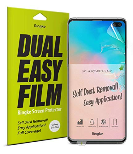 Ringke Dual Easy Film (2 Pack) Compatible with Galaxy S10 Plus (6.4