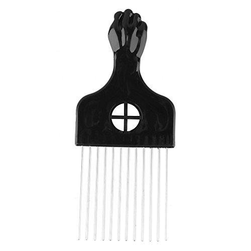 Beauty7 Peine Afro Cepillo de Pelo con Púas de Metal Pik Mango Plástico para Rizos Peina Cabello