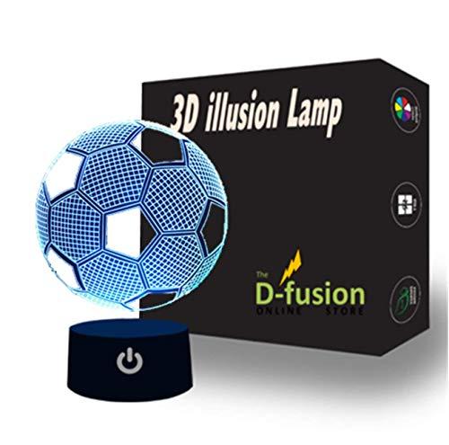 3D óptica fútbol ilusión lámpara noche luz LED niños humor luz noche