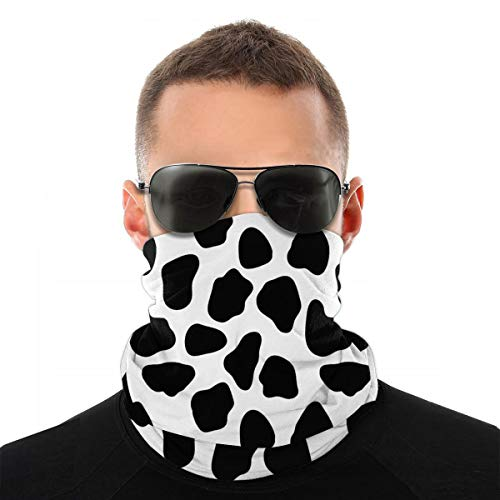 Bandana Face Mask Black White Milk Cow Print Rave Neck Gaiter for Dust Wind UV Sun Protection, Windproof Breathable Scarf Motorcycle Headbands for Women Men Teens