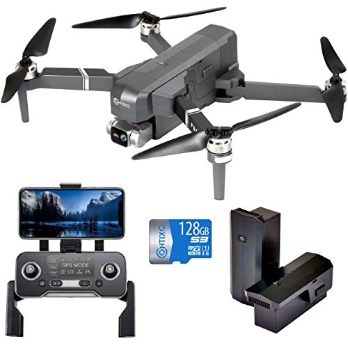Contixo F35 Premium GPS Drone with 4K UHD Camera 2-Axis Self stabilizing Gimbal 5G WiFi FPV RC Quadcopter Brushless Drone, 2 Batteries, 128GB SD Card Carrying Case