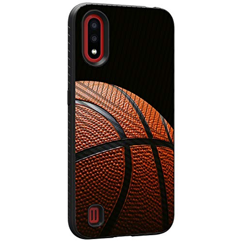 TurtleArmor | Compatible with Samsung Galaxy A01 (2020) | A015 | Hard Shell Engraved Grooves Hybrid Fitted TPU Case Sports and Games - Basketball Seams