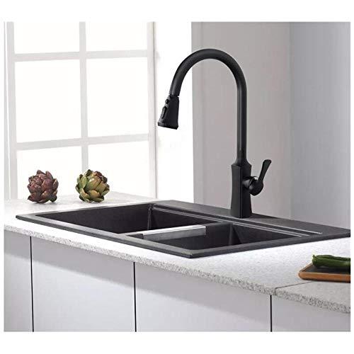 Grifo de cocina móvil Grifo de fregadero negro Grifo de cocina giratorio de 360 grados Grifo de cocina-Blanco,4WSV6TPEQVQHU