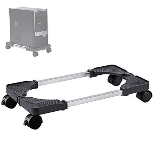 Adromy Supporto per PC Case Stand, Supporto per PC Case con rotelle Bloccabili, Regolabile Computer CPU Holder e 4 Ruota - Nero
