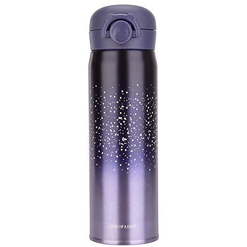 Blusea Thermoflaschen, Edelstahl, 350 ml/500 ml, Stern, Geschenk, Thermoflasche, Wasserflasche, Thermo-Tasse, für Reise, Herren, Damen Purple - 500ml