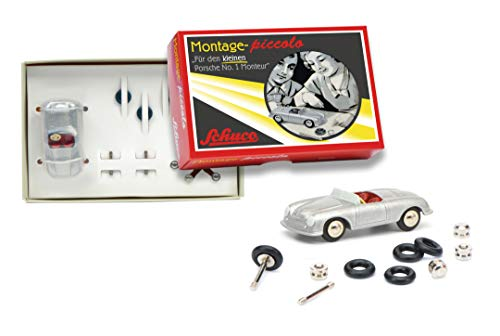 Schuco 450559900 Pic.Montagek No.1 450559900-Piccolo Montagekasten Porsche No. 1, Modellauto, 1:90, Retro Verpackung, Silber, Grau