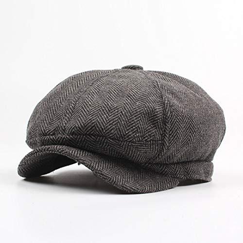 Marrone Scuro 8 Pannello stile tradizionale Herringbone Tweed Cap Cappello da Strillone Gatsby
