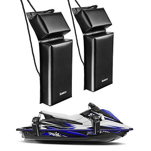 "kemimoto PWC Boat Fender Docking Protection Kit for Seadoo Jet Ski Waverunner, Upgrade Size 18""x6.5""x2.4"", with 2 Ropes"