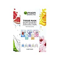 Garnier Sheet Mask Discovery Collection, Face & Eye Sheet Mask set for Dehydrated, Dull and Tired Sk...