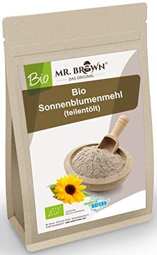 Mr. Brown BIO Sonnenblumenmehl teilentölt 1 Kg | Sonnenblumenkerne gemahlen | feines Pulver entölt | glutenfrei | vegan | produziert in Bayern