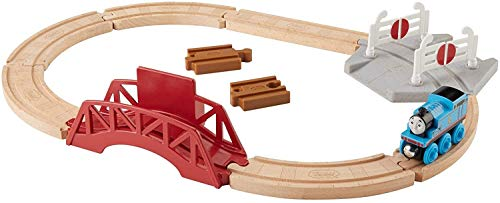 Fisher-Price Thomas & Friends Bridge & Crossings Playset, Wood Track Set with Push-Along Thomas Train Engine for preschool kids