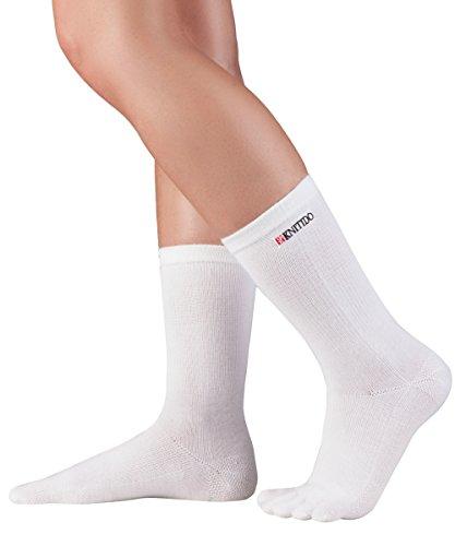 KNITIDO Track & Trail | Chaussettes 5 Doigts mi-Mollet en Fibre Coolmax®, Pointure:39-42, Couleur:Blanc