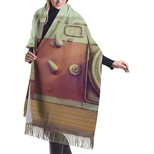 Laglacefond Winter sjaal Cashmere feel model oude camera droge bloem flessjaal sjaal wraps zachte warme deken sjaals