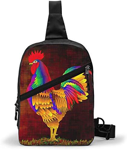 Colorful Roosters Sling Bag,Crossbody Shoulder Chest Outdoor Hiking Travel Personal Pocket Bag for Women Men Water Resistance