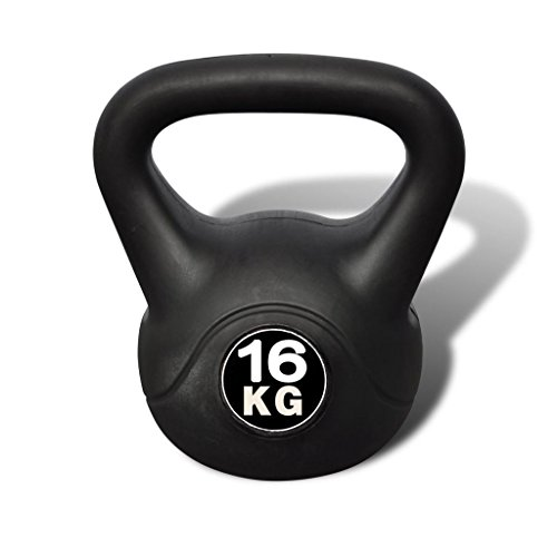 vidaXL Pesa Rusa de 16 Kilos Negra Kettlebell Musculación Fitness Ejercicio
