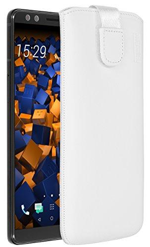 mumbi Echt Ledertasche kompatibel mit HTC U12+ Hülle Leder Tasche Case Wallet, Weiss