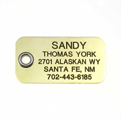 LuckyPet Pet ID Tag - Large Polished Brass Rectangle - Custom Engraved Dog & Cat ID Tag with Safety Reflective Coating on Back!