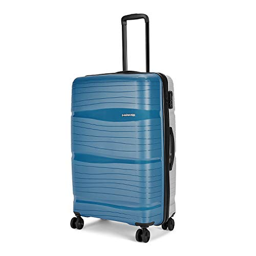 Nasher Miles Nicobar Hard-Sided Dual Tone Polypropylene Check-in Luggage Blue and Grey 28 inch |75cm Trolley Bag