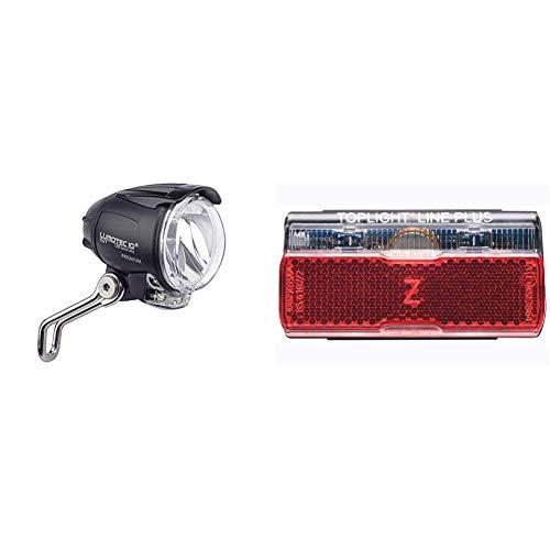 Busch & Müller Frontlicht Lumotec IQ Cyo Premium T Senso Plus, 1752QTSNDI-04 & & Müller Rücklicht Toplight Line Plus Fahrradlicht, schwarz/rot, Bolzenabstand : 50 mm