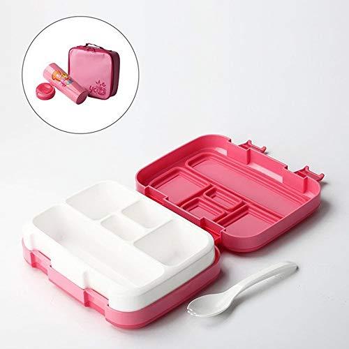 W.Z.H.H.H Lunch Box Lunch Box for Kids Frutta Contenitore di alimento Portable Microwave Scuola Compartimento Tenuta ermetica Bento Box Bambini Cucina Storag Dispensa (Color : Pink 5 Compartment)