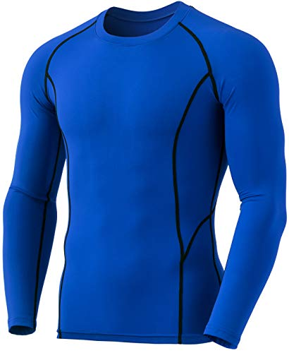 TSLA Men's Thermal Long Sleeve Compression Shirts, Athletic Base Layer Top, Winter Gear Running T-Shirt, Heatlock Round Neck(yud54) - Blue, Large