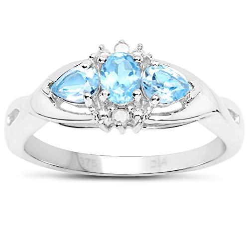 De Collectie van Topaas Ring : 9ct witgoud blauwe Topaas en Diamant, Eeuwigheidsring, Moederdag, Jubileum, Cadeau, Ringgrootte 9,10,11,12,13,15,16,17,19,24,20,15,6,21,22