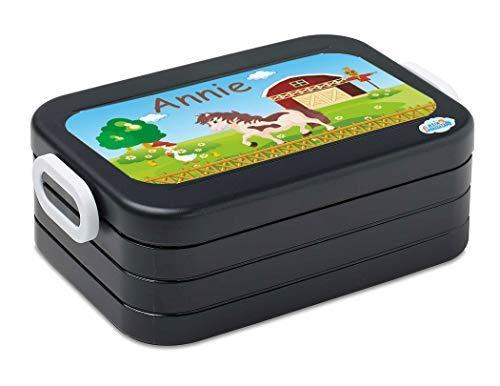 Mijn Zwergenland lunchbox Mepal Maxi Take A Break midi broodtrommel met eigen naam zwart paard