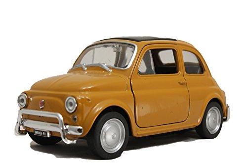 Modellauto / FIAT 500 / mit Rückzugantrieb / 1:34 / ca. 11 cm / Vier Farben / Gelb / Rot / Weiss / oder Schwarz / Zufallsauswahl / FIAT