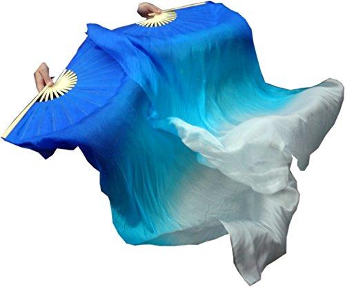 Winged Sirenny Children 1.1m Belly Dance Silk Fan Veil Worship Flag Streamer (blue-turquoise-white)
