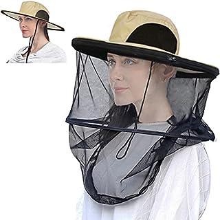 Mosquito Head Net Hat, 2 Pack Sun Hats with Hidden Net Mesh Mask