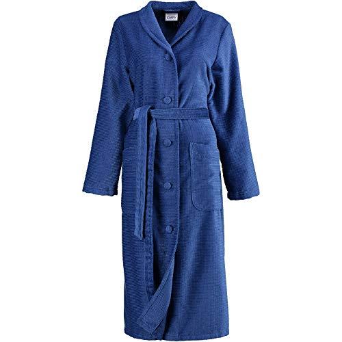 Cawö Home Bademantel Damen Kelchkragen geknöpft 2307 blau - 115 L