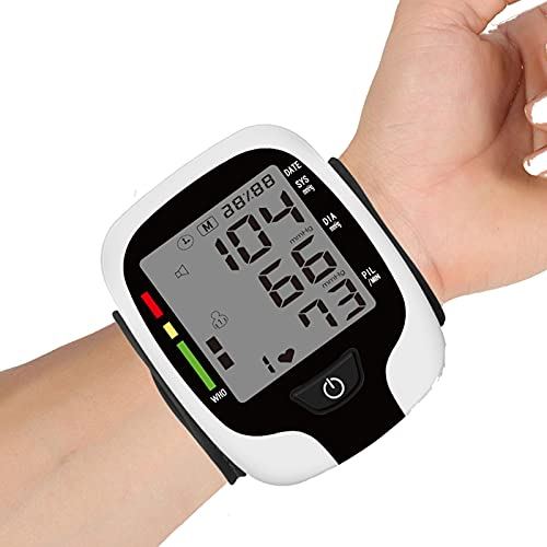 Automatic Blood Pressure Monitor Wrist Cuff for Home use Voice Broadcast Blood Pressure Machine Digital BP Monitor with Large LCD Display Included Batteries and Carrying for 2 Users