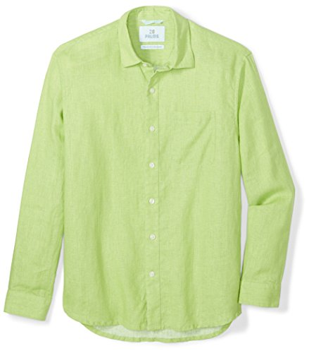 28 Palms Men's Relaxed-Fit Long-Sleeve 100% Linen Shirt, Lime Green, Large