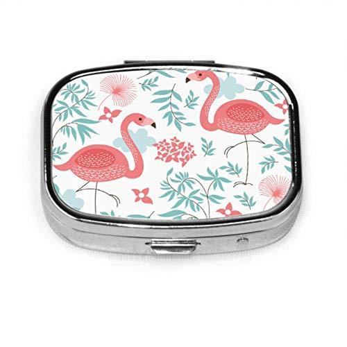 Pastillero Pink Flamingo Cute Pill Case Píldora diaria Portátil para bolsillo Monedero...