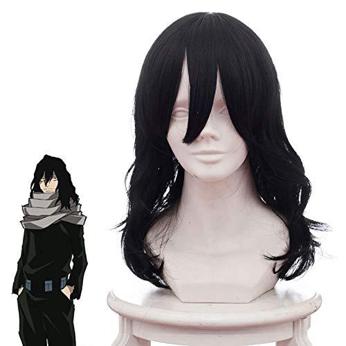 Mi héroe Academia Shouta Aizawa Eraser Head Cosplay peluca negro largo ondulado rizado Cosplay peluca Cosplay pelo Boku no Hero Akademia peluca