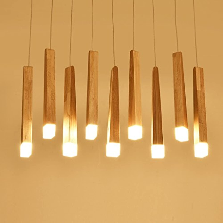 LongYu Kronleuchter LED Massivholz Rechteck Nordeuropa Hall Restaurant Einfache Log-Match-Stick
