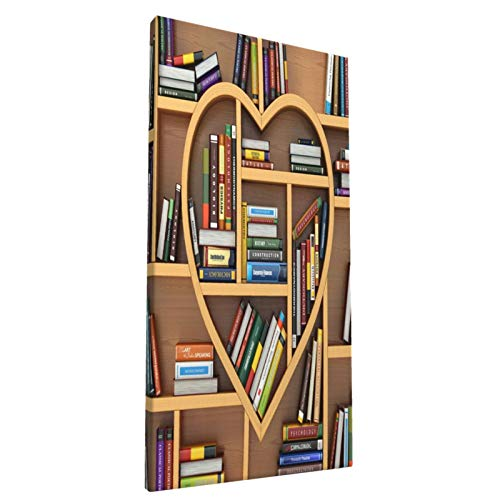Library Heart-Shaped Bookshelf Canvas Prints Wall Art Paintings Abstract Geometry Wall Artworks Pictures for Living Room Bedroom Decoration, 8x16in