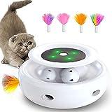 goopow interaktives katzenspielzeug, Hinterhalt mit Kugelbahnen 2-in-1-katzen Spielzeug mit 4 austauschbaren Federn, unterstützt Bunte LED-Leuchten katzenspielzeug für Katzen/Kätzchen (Weiß)
