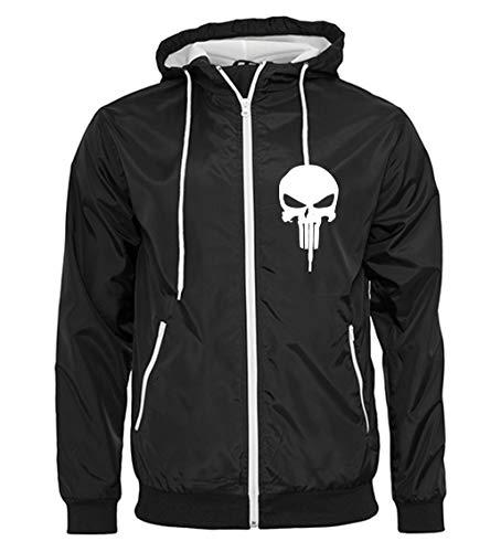 Artshirt Factory Punisher Wind-Jacke, Farbe: Schwarz/Weiß, Größe: L