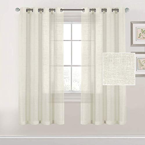 BellaHills Linen Sheer Curtains Semi Sheer Ivory Curtains - Privacy Added Silver Eyelet Linen Curtain Panels for Living Room/Bedroom Light Filtering Curtains W168cm x D183cm - (2 Panels)