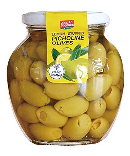 SOPRACO(ソプラコ) グリーンオリーブ&レモン 355g オリーブの実 瓶詰 食用 種なし 種抜き おつまみ 95164