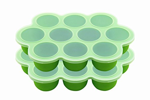 Silicone Egg Bites Molds for Instant Pot Accessories, 2 Items Silicone Baby Food Storage Container with Clip-on Lid (Green)