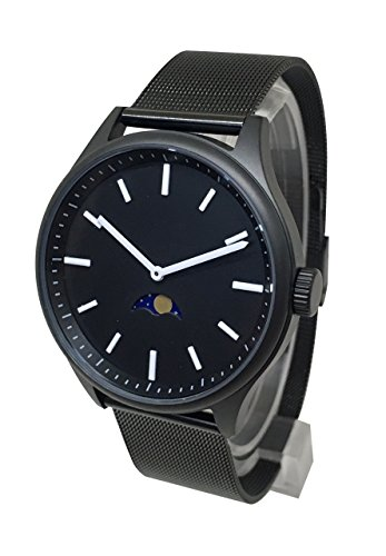 WatchDesign Bauhaus Sky Moonphase - Modern Black Steel Design with Moon Phase/Moon Age Indicator...