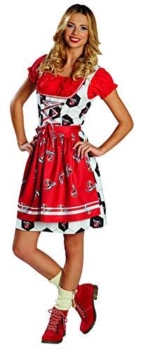Halloweenia - Damen Frauen rot weißes 1. FC Köln Dirndl Kostüm Tracht mit Geißbock Logo und Ball Look, perfekt für Karneval, Fasching und Fastnacht, XS, Rot