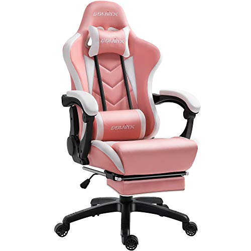 Dowinx Gaming Chair Ergonomic Racing Style Recliner with Massage Lumbar Support, Office Armchair for Computer PU Leather E-Sports Gamer Chairs with Retractable Footrest (White&Pink)